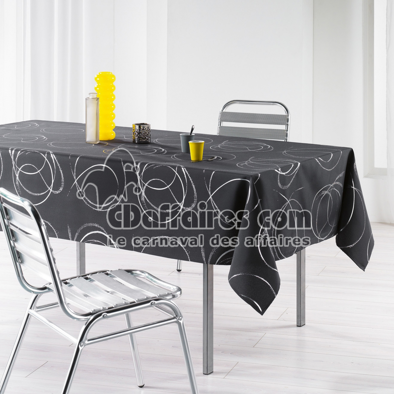 nappe rectangle 150 x 240 cm polyester imprime argent bully anthracite cdaffaires. Black Bedroom Furniture Sets. Home Design Ideas