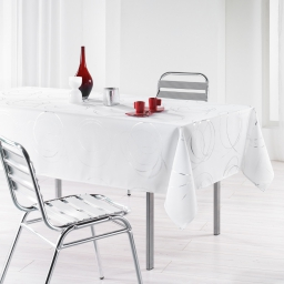 Nappe rectangle 150 x 240 cm polyester imprime argent bully Blanc