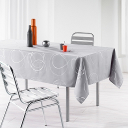 Nappe rectangle 150 x 240 cm polyester imprime argent bully Perle
