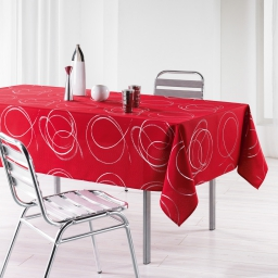 Nappe rectangle 150 x 240 cm polyester imprime argent bully Rouge