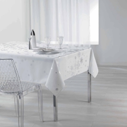 Nappe rectangle 150 x 240 cm polyester imprime argent constellation Blanc