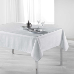 Nappe rectangle 150 x 240 cm polyester imprime argent palacio Blanc
