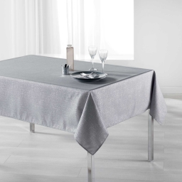 Nappe rectangle 150 x 240 cm polyester imprime argent palacio Gris