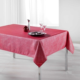 Nappe rectangle 150 x 240 cm polyester imprime argent palacio Rouge