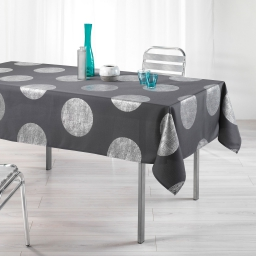 Nappe rectangle 150 x 240 cm polyester imprime argent platine Anthracite
