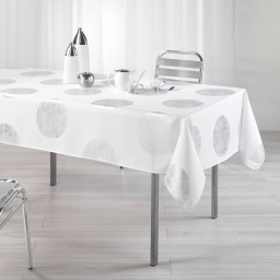Nappe rectangle 150 x 240 cm polyester imprime argent platine Blanc