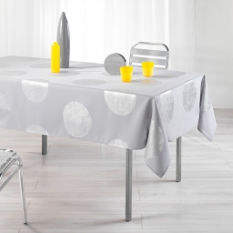 Nappe rectangle 150 x 240 cm polyester imprime argent platine Gris