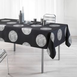Nappe rectangle 150 x 240 cm polyester imprime argent platine Noir