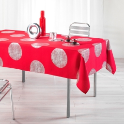 Nappe rectangle 150 x 240 cm polyester imprime argent platine Rouge