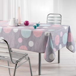Nappe rectangle 150 x 240 cm polyester imprime atolls Rose