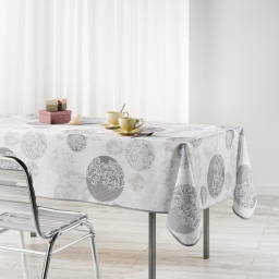 Nappe rectangle 150 x 240 cm polyester imprime barbara Naturel