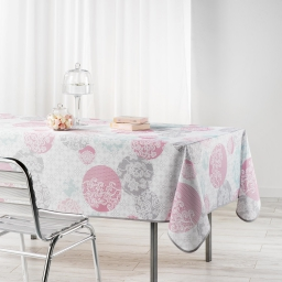 Nappe rectangle 150 x 240 cm polyester imprime barbara Poudre