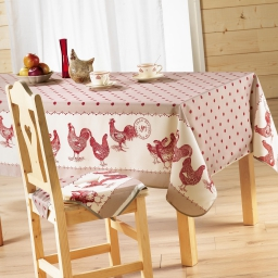 Nappe rectangle 150 x 240 cm polyester imprime belle epoque Rouge