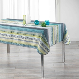 Nappe rectangle 150 x 240 cm polyester imprime chacana Bleu