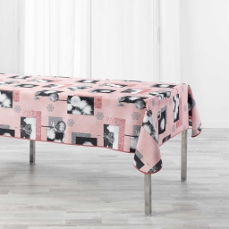 Nappe rectangle 150 x 240 cm polyester imprime cotina Rose