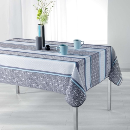 Nappe rectangle 150 x 240 cm polyester imprime feliz Bleu