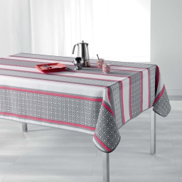Nappe rectangle 150 x 240 cm polyester imprime feliz Corail
