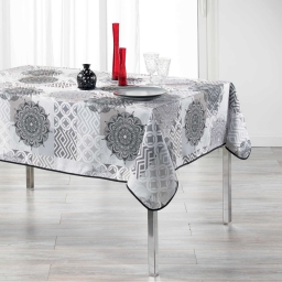 Nappe rectangle 150 x 240 cm polyester imprime flamenco Gris