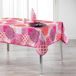 Nappe rectangle 150 x 240 cm polyester imprime flamenco Rose