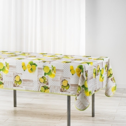 nappe rectangle 150 x 240 cm polyester imprime limoncello
