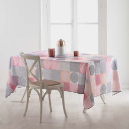 Nappe rectangle 150 x 240 cm polyester imprime mantra Rose