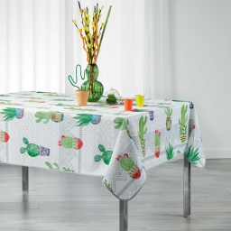 Nappe rectangle 150 x 240 cm polyester imprime melocactus Blanc