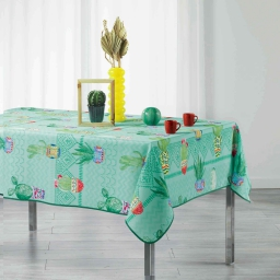 Nappe rectangle 150 x 240 cm polyester imprime melocactus Bleu