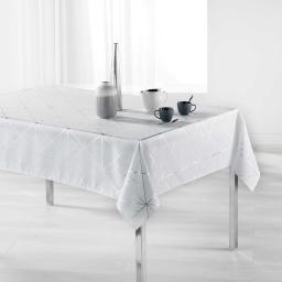 Nappe rectangle 150 x 240 cm polyester imprime metallise quadris Blanc/Argent