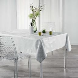 Nappe rectangle 150 x 240 cm polyester imprime metallise veggy Blanc/argent