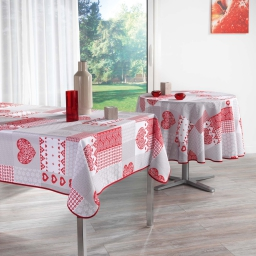nappe rectangle 150 x 240 cm polyester imprime mille coeurs