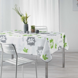 Nappe rectangle 150 x 240 cm polyester imprime organic Vert