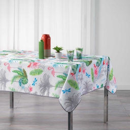 Nappe rectangle 150 x 240 cm polyester imprime paradizio Blanc