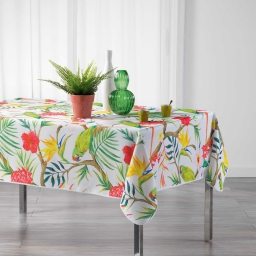 Nappe rectangle 150 x 240 cm polyester imprime tropicoco Blanc