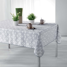 Nappe rectangle 150 x 240 cm polyester imprime valina Taupe