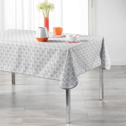 Nappe rectangle 150 x 240 cm polyester imprime victory Blanc