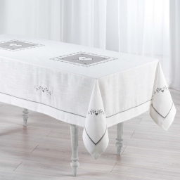 Nappe rectangle 150 x 240 cm polyester/lin amandine Blanc