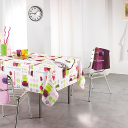 Nappe rectangle 150 x 240 cm polyester photoprint macarons Blanc