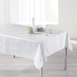 Nappe rectangle 150 x 240 cm shantung imprime safina Blanc/Or