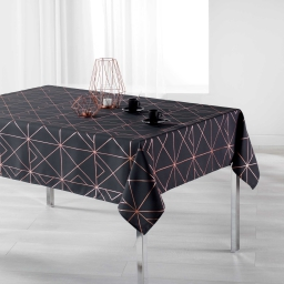 Nappe rectangle 150 x 300 cm polyester imp metallise quadris Anthracite/Or rose