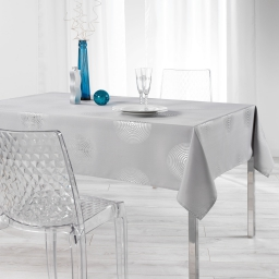 Nappe rectangle 150 x 300 cm polyester imprime argent atome Gris