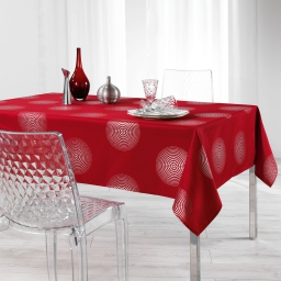 Nappe rectangle 150 x 300 cm polyester imprime argent atome Rouge