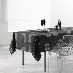 Nappe rectangle 150 x 300 cm polyester imprime argent plumia Anthracite