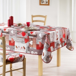 nappe rectangle 150 x 300 cm polyester imprime coeur nature