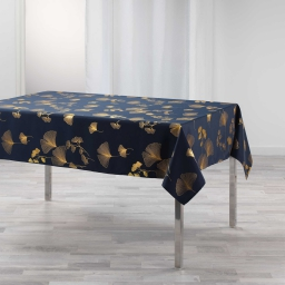 Nappe rectangle 150 x 300 cm polyester imprime metallise bloomy Marine/or