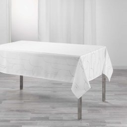 Nappe rectangle 150 x 300 cm polyester imprime metallise domea Blanc/argent
