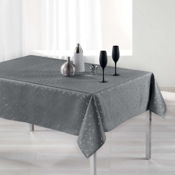 Nappe rectangle 150 x 300 cm shantung imprime safina Gris/Argent