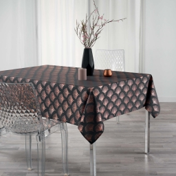 Nappe rectangle 150x300 cm anti tache Goldy Anthracite/or Rose