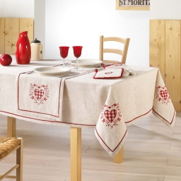 nappe rectangle brodee 140 x 240 cm polyester/lin adele