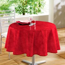 Nappe ronde (0) 160 cm pvc faux uni beton cire Rouge