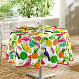nappe ronde (0) 160 cm pvc imprime fruits exotiques